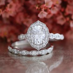 Forever One Moissanite Engagement Ring and Scalloped Diamond Wedding in 14k White Gold Vintage Floral Bridal Set 8x6mm Oval Cut Gem Ring Set