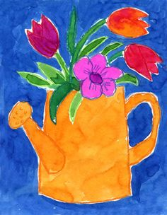 Art Projects for Kids: Watering Can Flowers