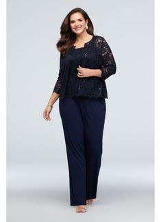 This sophisticated and comfortable plus-size event look features a chic scalloped hem lace tank paired with a matching jacket and a sleek pant. By Onyx Three-piece ensemble Polyester, spandex Pull-on styling, fully lined Hand wash Imported Mother Of The Bride Plus Size, Mother Of The Bride Suits, Mother Of Bride Outfits, Mother Of Groom Dresses, Bride Groom Dress, Mob Dresses, Necklines For Dresses, Wedding Dresses, Dressy Pant Suits