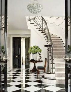 Never ages.a Classic Grand Foyer in black & white checkered marble tiles and c. Never ages…a Classic Grand Foyer in black & white checkered marble tiles and curvy staircase via Beautiful Interiors, Beautiful Homes, Black And White Flooring, Black White, Large Black, Floor Design, House Design, Tile Design, Grand Foyer