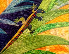 Incredible skill in piecing and stitching here.  Quilted Lizard by Karen Eckmeier