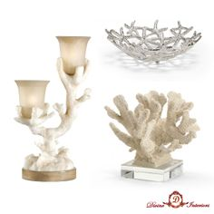 Here's some of our summer themed accessories:  Coral Candelabra Lamp, Starfish Centerpiece Bowl, and Coral Specimen with Crystal Base