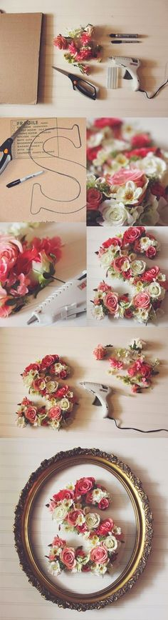 A collection of beautiful wall decor inspirations and DIY art. See more ideas about Affordable home decor, Bricolage and Diy ideas for home. Floral Letters, Diy Letters, Wooden Letters, Letters With Flowers, Decorative Letters For Wall, Paper Letters, Fun Crafts, Diy And Crafts, Arts And Crafts