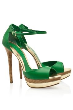 ELIE SAAB | Green Ankle Strap High Heel Platform Sandals
