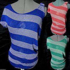 Nwt DE COLORES Sheer woven Top womens SML Red Blue stripe Tunic tee shirt Spring
