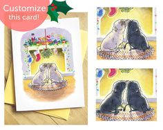 Mistletoe pugs Christmas cards - cozy Christmas card with fawn and black pugs, cute pug Holiday cards with two pugs by Inkpug
