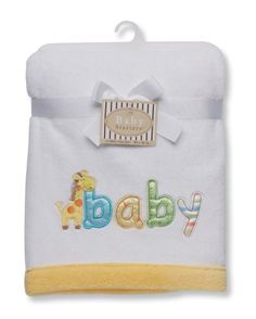 Baby Starters Plush Embroidered Blanket, White « Clothing Impulse