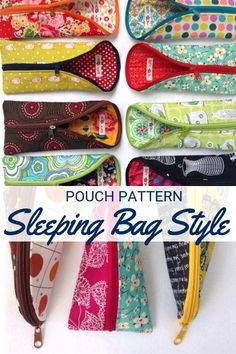 Estojo com 1 lado do zipper - Keep your small items together and ready when you are with this fashionable & functional Sleeping Bag Pouch Pattern. Easy Sewing Projects, Sewing Projects For Beginners, Sewing Hacks, Sewing Tips, Sewing Patterns Free, Free Sewing, Pattern Sewing, Crochet Patterns, Pouch Pattern