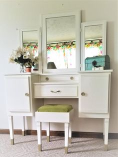 Meagan Greynolds - Make Up & Vanity Tables Custom by Meagansmood Makeup Table Vanity, Makeup Tables, Elegant Woman, Hardwood, My Etsy Shop, Storage, Trending Outfits, Furniture, Tri Fold