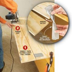 DIY Tip of the Day: A Second Hand for Long Cuts. Here's a safe way to make long… Woodworking Techniques, Woodworking Jigs, Carpentry, Woodworking Projects, Wood Tools, Diy Tools, Wood Jig, Diy Workshop, Circular Saw