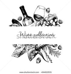 Vector hand drawn template illustration of wine and appetizers. Bottle, glass, corksrew, cheese, fruits ans spices. Vintage engraved style art. For restaurant, menu, shop, market, sale.