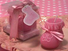 Handmade Baby Shower Ideas for Girls — Unique Baby Shower Favors Ideas Homemade Baby Shower Favors, Baby Shower Gift Bags, Unique Baby Shower Favors, Baby Shower Parties, Baby Favors, Cheap Candles, Pink Candles, Handgemachtes Baby, Baby Gifts To Make