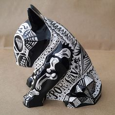 Sculpture Tattooed Mexican Bull Terrier Dia De Los by PSIAKREW