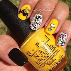 Snoopy Nails using OPI 2014 Peanuts Collection