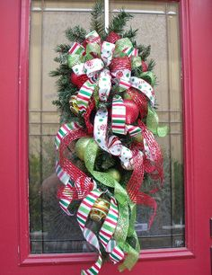 chrstmas swags with mesh riibbon | Christmas Wreath Cascade I Wish it Was Christmas by LuxeWreaths