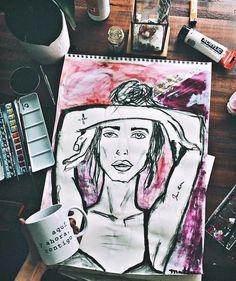 """6,353 Me gusta, 211 comentarios - ↠ Mathi ↞   (@itziaraguilera) en Instagram: """"Aquí y ahora, contigo. @luanord Estoy pintando más, solo por curiosidad, si hiciera una exposición…"""""""