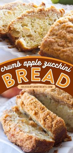 Another zucchini recipe for a delicious breakfast idea, brunch recipe, or snack! Crumb Apple Zucchini Bread is a quick bread recipe filled with freshly grated zucchini and sweet apples then topped… Breakfast Bread Recipes, Quick Bread Recipes, Brunch Recipes, Apple Zucchini Bread, Apple Bread, Healthy Zucchini, Apples, Snacks, Desserts