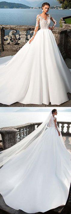 Satin Bateau Neckline A-Line Wedding Dresses With Lace Appliques WD192 #weddingdress #dress #satin #wedding #dress #pgmdress #weddings #satinweddingdresses