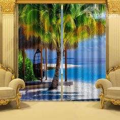 Vivid Coconut Trees in Sunset Printed Vibrant Colors Scenery Polyester Custom Curtains 3d Curtains, Printed Curtains, Curtains For Sale, Custom Curtains, Curtain Patterns, Tree Patterns, Tapestry Wallpaper, Blackout Blinds, Home