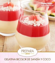Licua 1tz. de crema de coco, 1tz. de leche y calienta en una olla; agrega 2cdas. de coco rallado, 1½ cdas.de grenetina hidratada c/3cdas.de agua fría y diluida en microondas por 30seg.vierte en copas y refrigera hasta que cuaje. Licua  1tz. de sandía s/semillas, ½ tz. de azúcar, 1tz. de agua y calienta sin hervir; hidrata 1½ cdas.de grenetina c/3 cdas.de agua fría; diluye en microondas por 30seg. y añade a la mezcla anterior.Deja enfriar y vierte sobre la gelatina de coco Refrigera hasta…