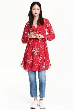 Vestido traçado - Vermelho/Floral - SENHORA   H&M PT 1