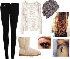 """""""Lazy Outfit"""" by kuku-claudia ❤ liked on Polyvore- if your not a fan of uggs you could switch it for combat boots or knee high boots of ur choice"""