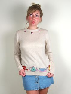 Embroidered tea time jumper £30