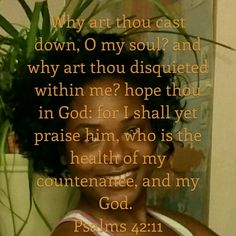 Psalm 42:11King James Version (KJV)  11 Why art thou cast down, O my soul? and why art thou disquieted within me? hope thou in God: for I shall yet praise him, who is the health of my countenance, and my God.