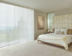 Create sweet dreams and perfection for casual luxury with a soft neutral palette and Luminette® Privacy Sheers. ♦ Hunter Douglas window treatments #MasterBedroom