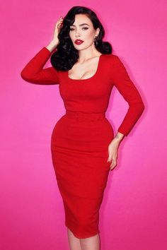 This '50s Vixen Wiggle Dress, designed by the gorgeous Micheline Pitt, is a bad girl dream coming true!The clothing line by Micheline Pitt reflects her own image; sexy, feminine and so cute; vavavoom! So is this curve-hugging beauty; from the perfect fitted style to the sassy lipstick red colour, wow! The wiggle style ensures a curvalicious silhouette on its own but the detachable belt gives you an hourglass figure to the max ;-) Made from a thicker yet stretchy fabric which is ...