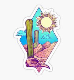 'Desert' Sticker by filkusto - Stickers Tumblr Stickers, Cool Stickers, Printable Stickers, Laptop Stickers, Journal Stickers, Planner Stickers, Image Tumblr, Aesthetic Stickers, Sticker Design