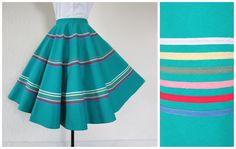 1950s Skirt 50s Circle Skirt Full Skirt Green Rainbow Striped Full Circle Skirt XS / S by fibreworks on Etsy https://www.etsy.com/listing/229888571/1950s-skirt-50s-circle-skirt-full-skirt