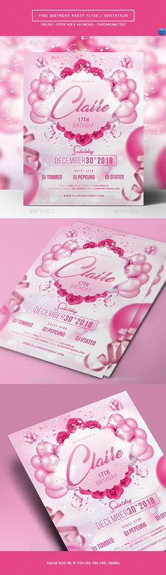 Buy Pink Birthday Party Flyer / Invitation by arifpoernomo on GraphicRiver. Pink Birthday Party Flyer / Invitation, can be used for your birthday party. Very easy to edit text. Birthday Flyer, Invitation Card Birthday, Anniversary Invitations, Pink Birthday, Birthday Greeting Cards, Birthday Greetings, It's Your Birthday, Baby Shower Invitations, Invitation Cards