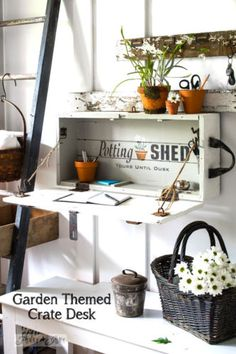 Create a whimsical garden themed desk from an old crate! By Funky Junk Interiors for eBay
