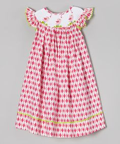 Pink Diamond Bird Smocked Dress - Infant, Toddler & Girls by Helene's Closet #zulily #zulilyfinds