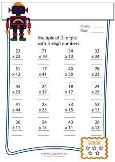 2 Digit Multiplied by 2 Digit Worksheet – #4   #math #multiplication #worksheet…