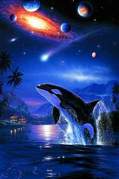 Diamond Painting Orca Galaxy Kit - Marit Thamling - Space Everything Orca Art, Dolphin Art, Whale Song, Orcas, Wale, Galaxy Painting, 5d Diamond Painting, Cross Paintings, Whales