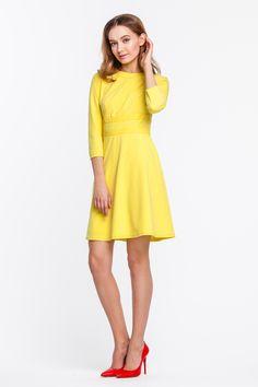 2308 Платье желтое, вставки на груди, выше колена купить в Украине, цена в каталоге интернет-магазина брендовой одежды Musthave
