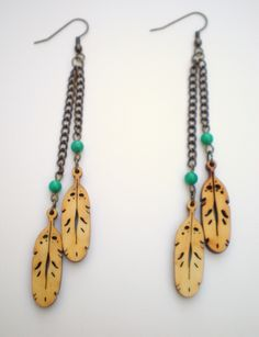 Long Wood Feather Earrings by DirdyBirdy on Etsy