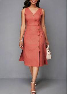 V Neck Printed High Waist A Line Dress | Rosewe.com - USD $34.43