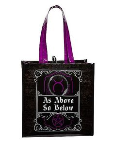 As Above So Below Tote Bag - Spirithalloween.com Wicca Witchcraft, Reusable Grocery Bags, Halloween Costumes, Mystic Arts, Accessories, Halloween Costumes Uk, Halloween Outfits, Jewelry Accessories