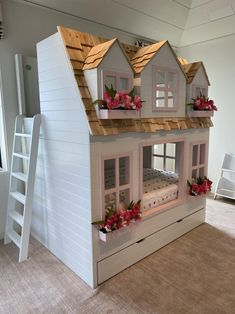 NEW*** special edition of our popular Mia's Country Cottage Bed, Loft, Bunk Bed, Playhouse with Trundle Benjamin Moore, Cool Toddler Beds, Staircase Landing, Loft Bunk Beds, Farmhouse Style Furniture, Cottage, House Beds, Little Girl Rooms, Built In Storage