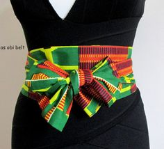 Nubian bow Traditional Africa Asoebi kente PRINT wax fabric Obi belt, sash, scarf, bow belt.  Versatile.  One size. fit UK size 10/ 12