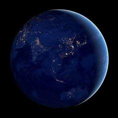 Asian Night Lights from Space Satellite Orbit Earth China India Arabia Asia Australia NASA Images Modern Space Science Art Photo Print