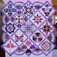sampler quilt by Annie Smith, posted by Leah Day
