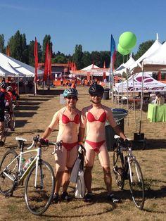 This Couple is Wearing Bicycling Outfits That Look Like a Sexy Woman in a Bikini Bicycling, Transgender, Bikini Girls, Bikinis, Swimwear, Sexy Women, That Look, Woman, Couples