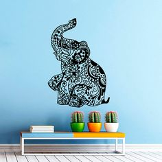 Elephant Wall Decal Indian Pattern Decal Vinyl by CozyDecal, $26.99