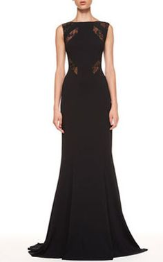 """Elie Saab Lace-Cutout Sleeveless Black Gown : Stretch crepe with sheer lace-inset cutouts. Bateau neckline; sleeveless. Fitted to hip; bias-cut skirt. Exposed back zip. Approx. 63""""L from shoulder to hem (165cm). Viscose/acetate/polyamide. Silk and viscose/polyester linings. Dry clean. Made in Italy of French material. read more http://www.homecomingdressesfashion.com/elie-saab-lacecutout-sleeveless-black-gown-p-313.html 