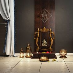 Festive inspiration for your Pooja room! May the season bring you joy and leave no space for negativity. Pooja Room Door Design, Dining Room Design, Home Decor Bedroom, Room Decor, Temple Room, Temple Design For Home, Mandir Design, Ganapati Decoration, Pooja Mandir