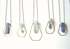 Pentagon Pendant- Hammered Brass Geometric Blue Stone Necklace